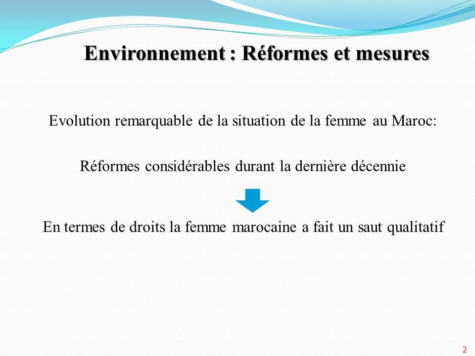 Environnement : Réformes et mesures Evolution remarquable de la situation de la femme au Maroc: Réformes considérables durant la dernière décennie En