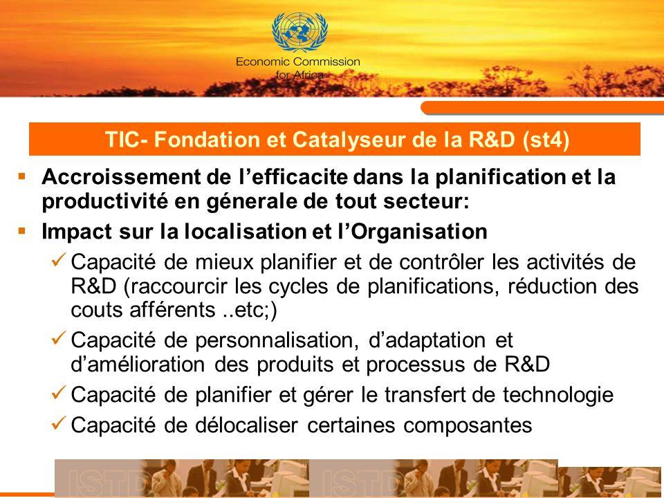 TIC- Fondation et Catalyseur de la R&D (st4) Accroissement de lefficacite dans la planification et la productivité en génerale de tout secteur: Impact