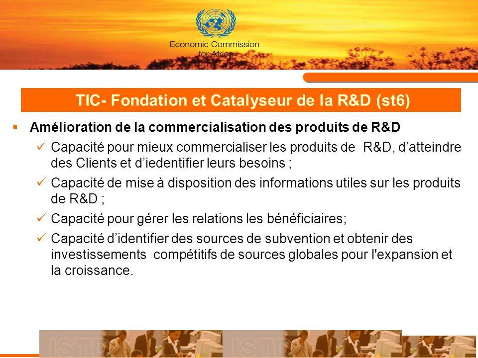 TIC- Fondation et Catalyseur de la R&D (st6) Amélioration de la commercialisation des produits de R&D Capacité pour mieux commercialiser les produits