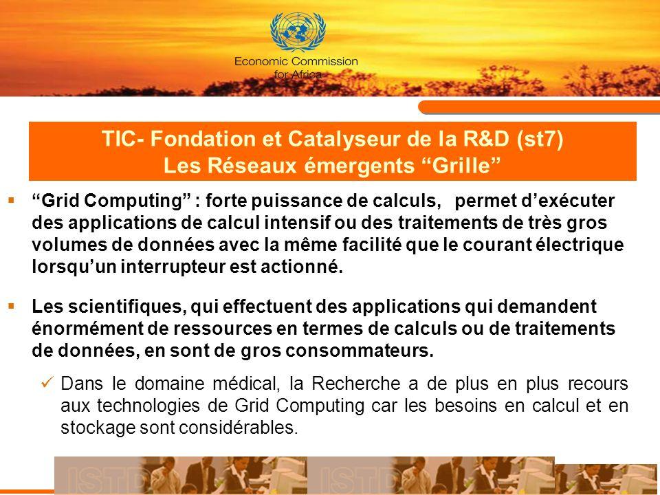 TIC- Fondation et Catalyseur de la R&D (st7) Les Réseaux émergents Grille Grid Computing : forte puissance de calculs, permet dexécuter des applicatio