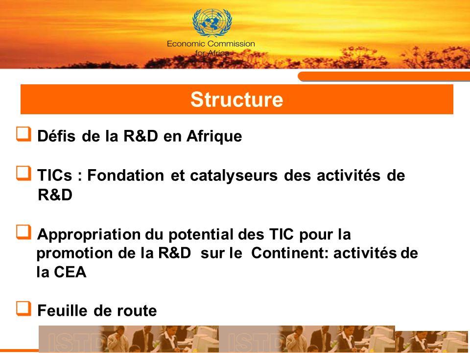 Structure Défis de la R&D en Afrique TICs : Fondation et catalyseurs des activités de R&D Appropriation du potential des TIC pour la promotion de la R
