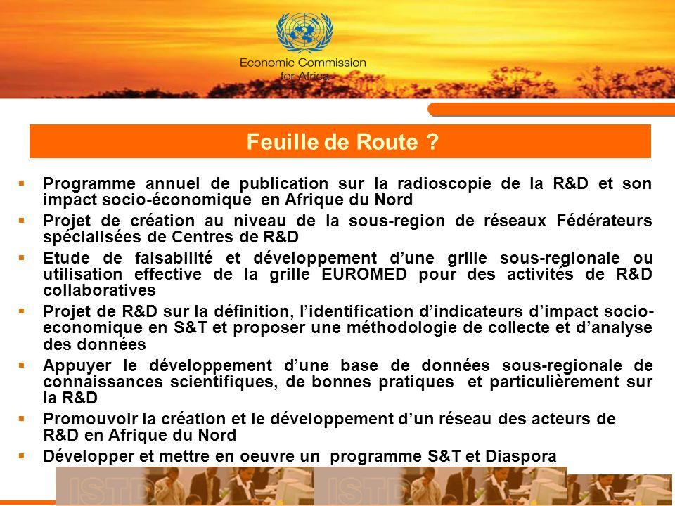 Feuille de Route ? Programme annuel de publication sur la radioscopie de la R&D et son impact socio-économique en Afrique du Nord Projet de création a