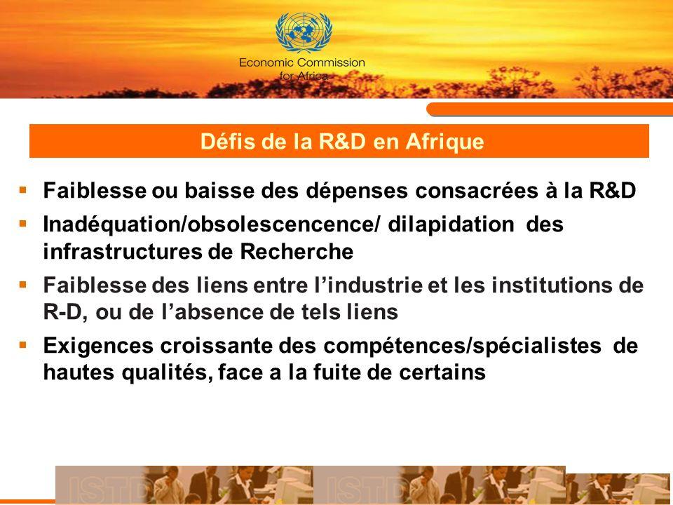 Défis de la R&D en Afrique Faiblesse ou baisse des dépenses consacrées à la R&D Inadéquation/obsolescencence/ dilapidation des infrastructures de Rech