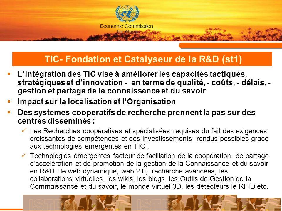 TIC- Fondation et Catalyseur de la R&D : Un exemple en Tunisie (st2) Création dun réseau Fédérateur de Recherche Intégrer les quatre réseaux spécialisés de la recherche scientifique: Réseau National de la Recherche et la Technologie Réseau National Universitaire Réseau de lagriculture Réseau National de la Santé