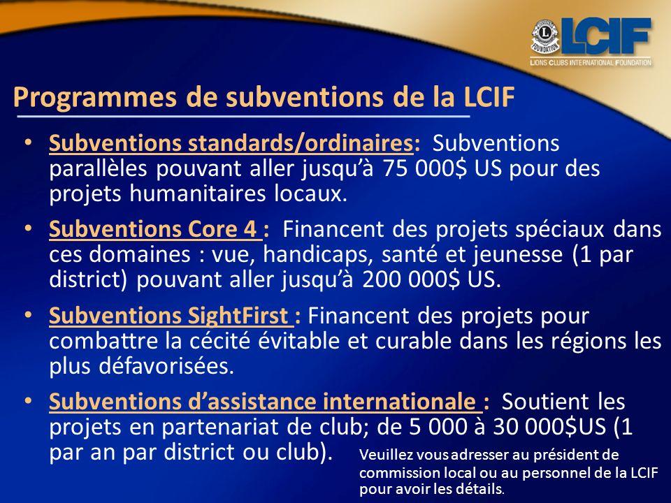 Programmes de subventions de la LCIF Subventions standards/ordinaires: Subventions parallèles pouvant aller jusquà 75 000$ US pour des projets humanit