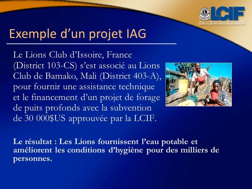 Exemple dun projet IAG Le Lions Club dIssoire, France (District 103-CS) sest associé au Lions Club de Bamako, Mali (District 403-A), pour fournir une