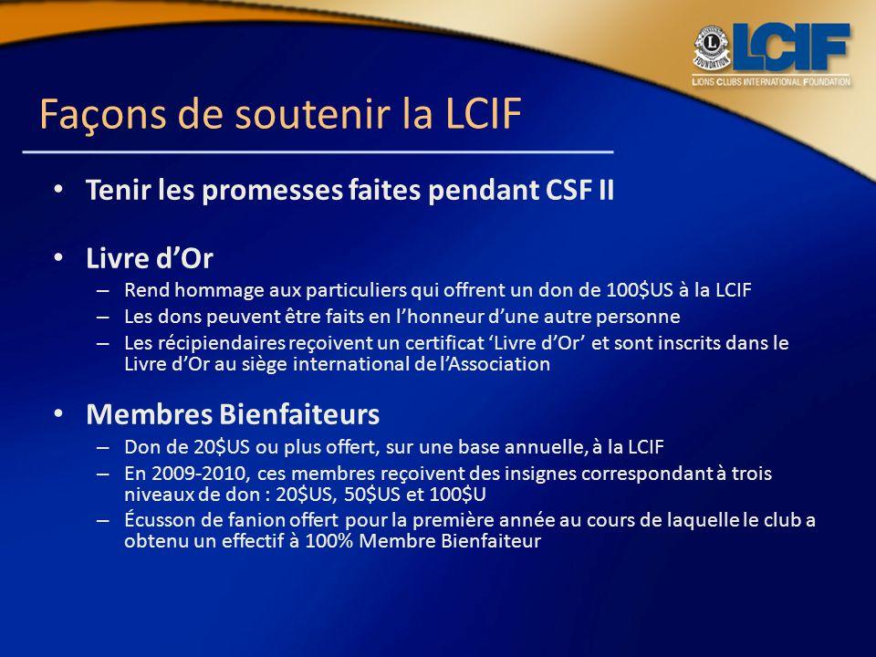 Façons de soutenir la LCIF Tenir les promesses faites pendant CSF II Livre dOr – Rend hommage aux particuliers qui offrent un don de 100$US à la LCIF