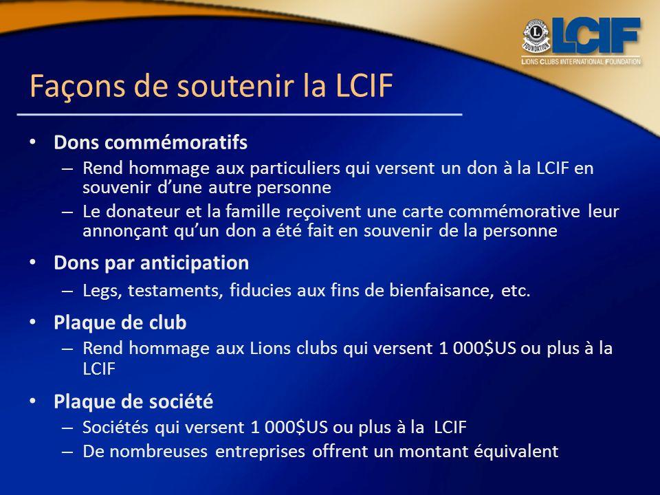Façons de soutenir la LCIF Dons commémoratifs – Rend hommage aux particuliers qui versent un don à la LCIF en souvenir dune autre personne – Le donate