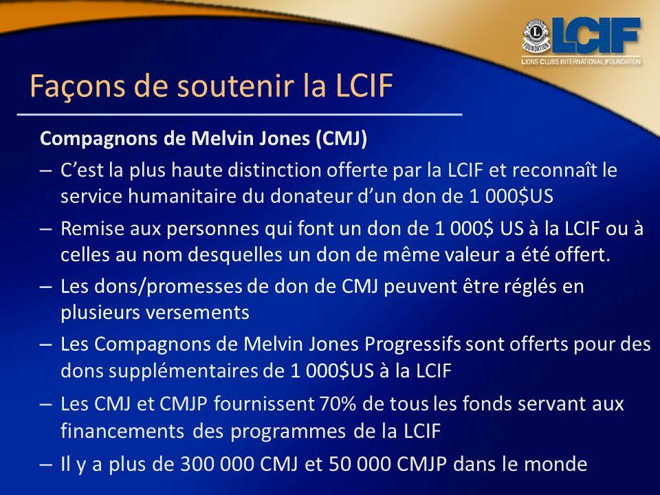 Façons de soutenir la LCIF Compagnons de Melvin Jones (CMJ) – Cest la plus haute distinction offerte par la LCIF et reconnaît le service humanitaire d