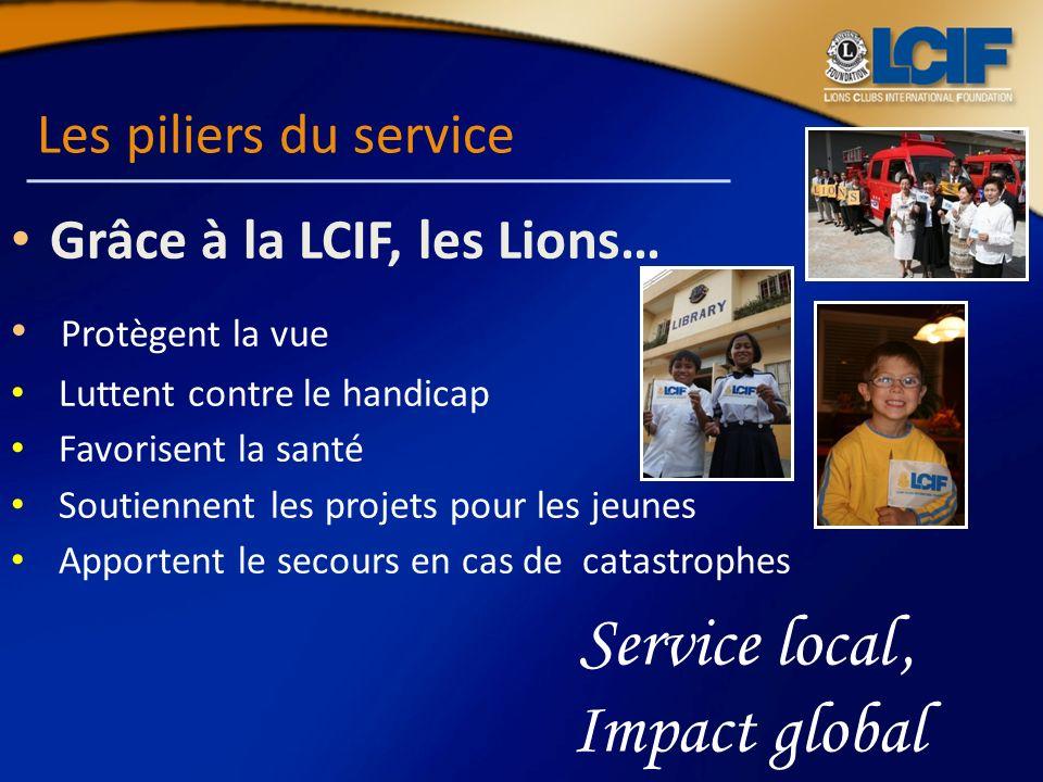 Les piliers du service Grâce à la LCIF, les Lions… Protègent la vue Luttent contre le handicap Favorisent la santé Soutiennent les projets pour les je