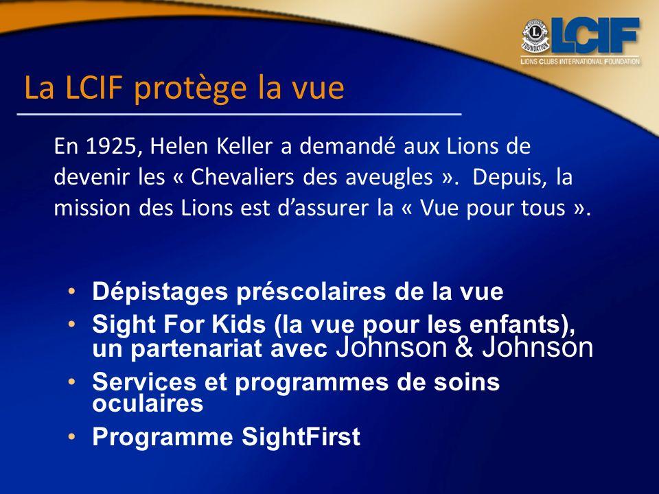 La LCIF protège la vue Dépistages préscolaires de la vue Sight For Kids (la vue pour les enfants), un partenariat avec Johnson & Johnson Services et p