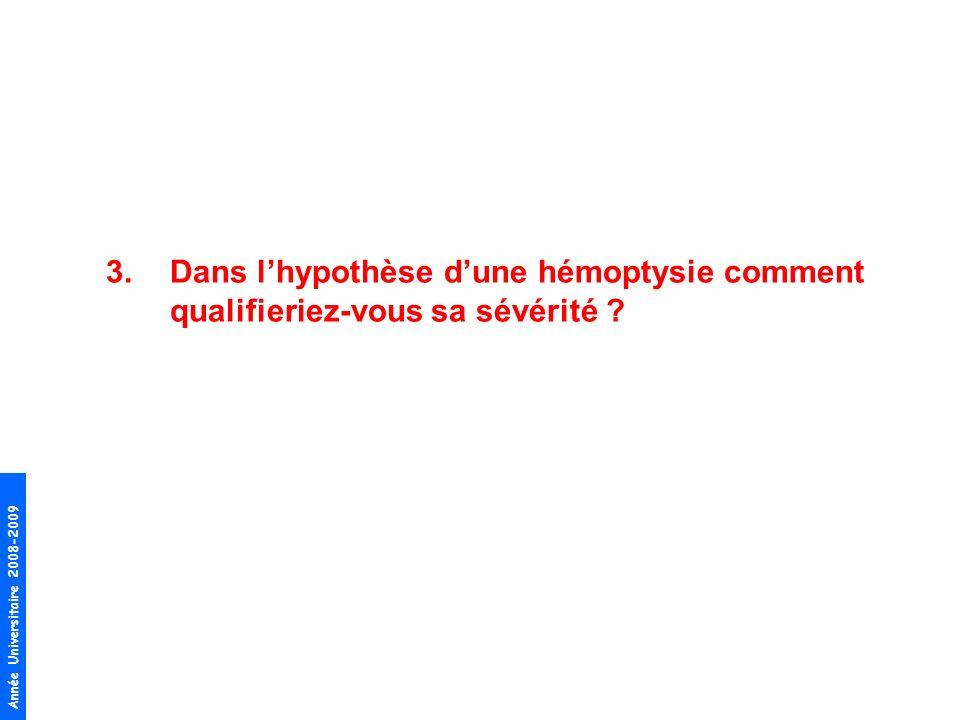 Année Universitaire 2008-2009 3.Dans lhypothèse dune hémoptysie comment qualifieriez-vous sa sévérité ?