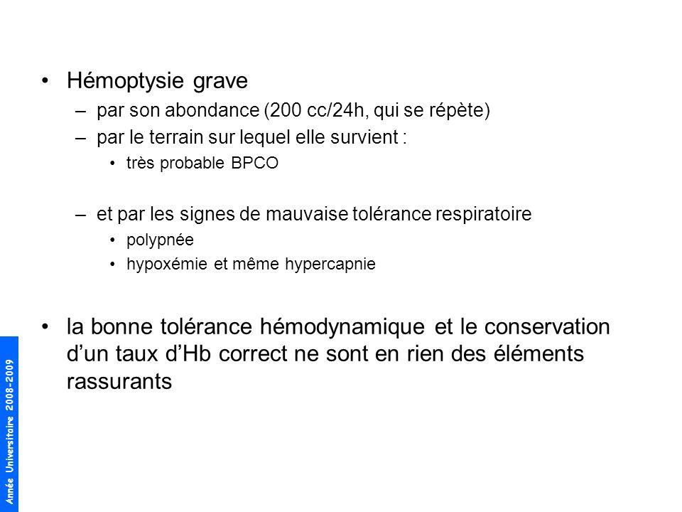 Année Universitaire 2008-2009 Hémoptysie grave –par son abondance (200 cc/24h, qui se répète) –par le terrain sur lequel elle survient : très probable BPCO –et par les signes de mauvaise tolérance respiratoire polypnée hypoxémie et même hypercapnie la bonne tolérance hémodynamique et le conservation dun taux dHb correct ne sont en rien des éléments rassurants