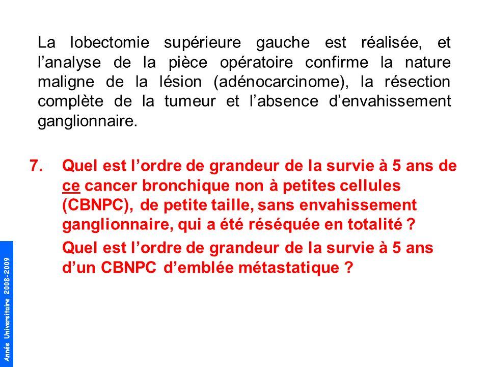 7.Quel est lordre de grandeur de la survie à 5 ans de ce cancer bronchique non à petites cellules (CBNPC), de petite taille, sans envahissement gangli
