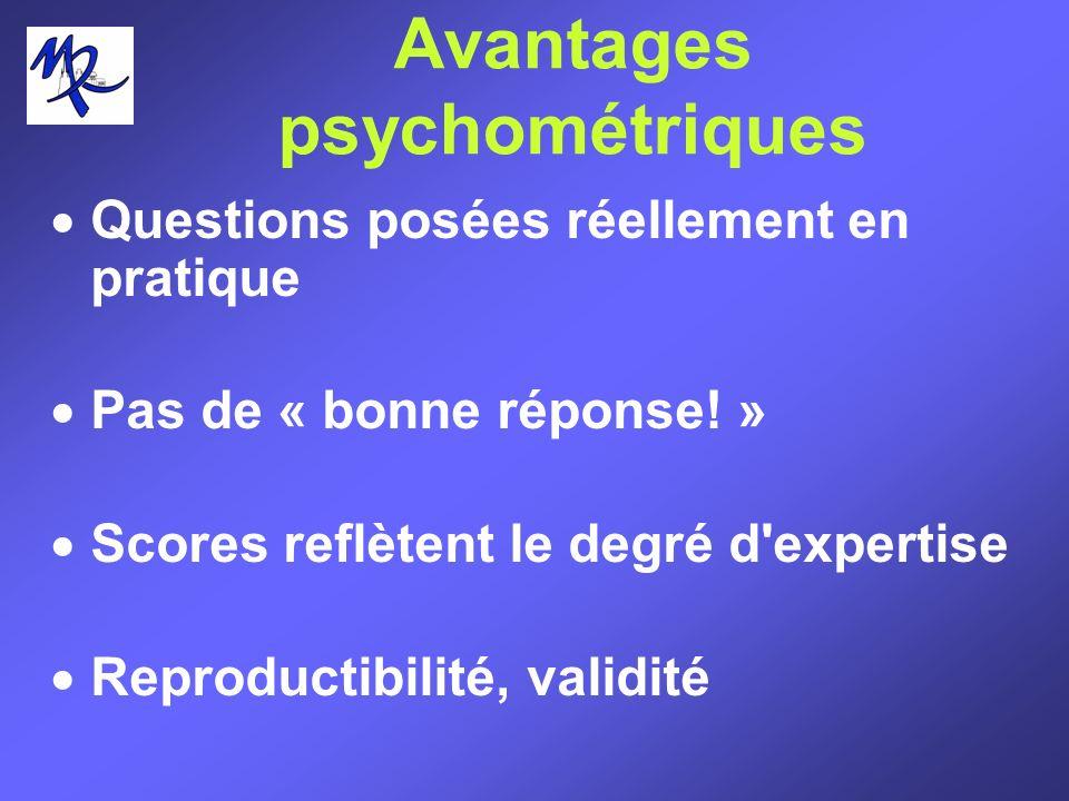 Avantages psychométriques Questions posées réellement en pratique Pas de « bonne réponse! » Scores reflètent le degré d'expertise Reproductibilité, va