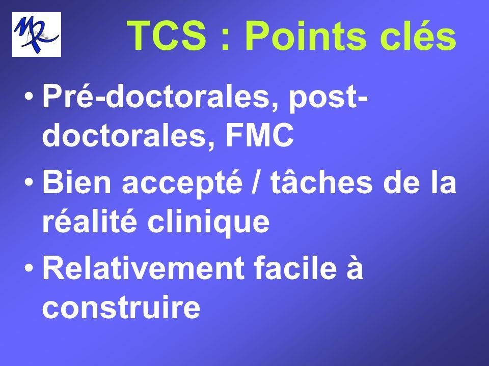 TCS : Points clés Pré-doctorales, post- doctorales, FMC Bien accepté / tâches de la réalité clinique Relativement facile à construire