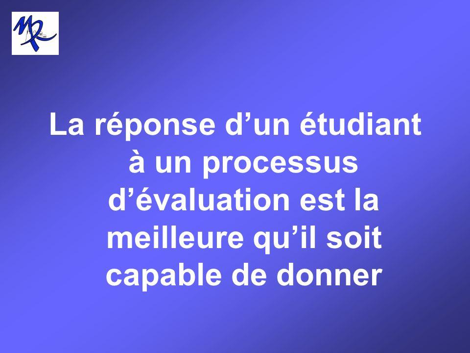 La réponse dun étudiant à un processus dévaluation est la meilleure quil soit capable de donner