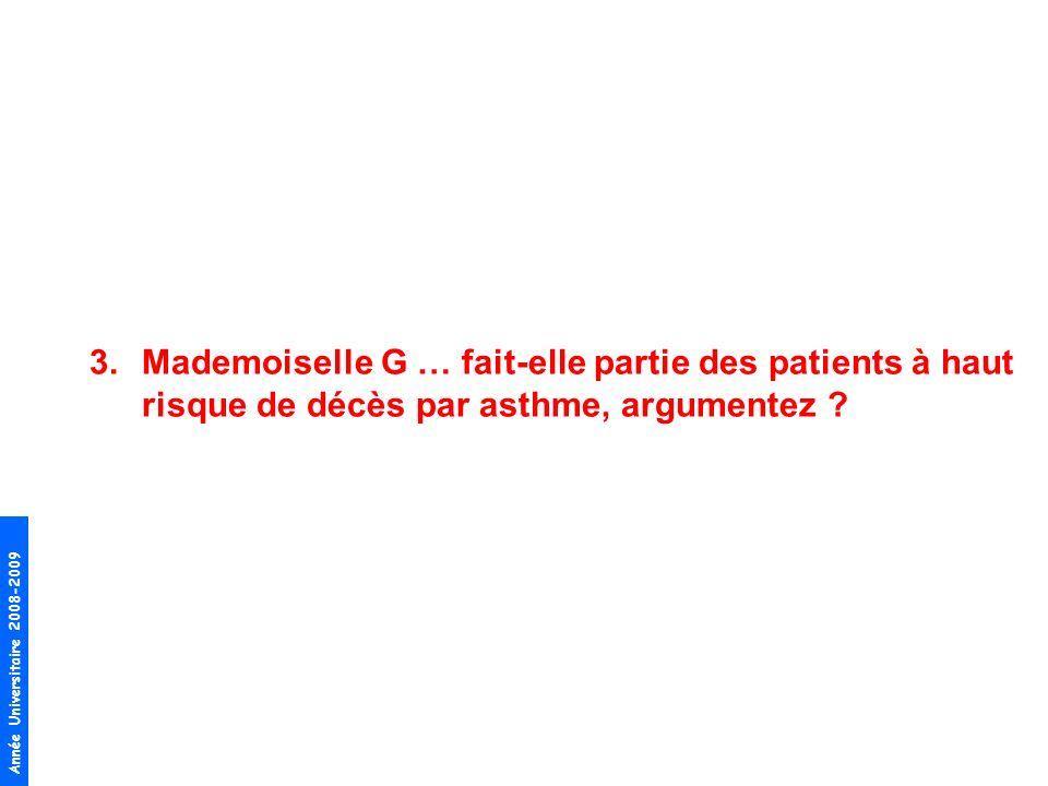 Année Universitaire 2008-2009 3.Mademoiselle G … fait-elle partie des patients à haut risque de décès par asthme, argumentez ?