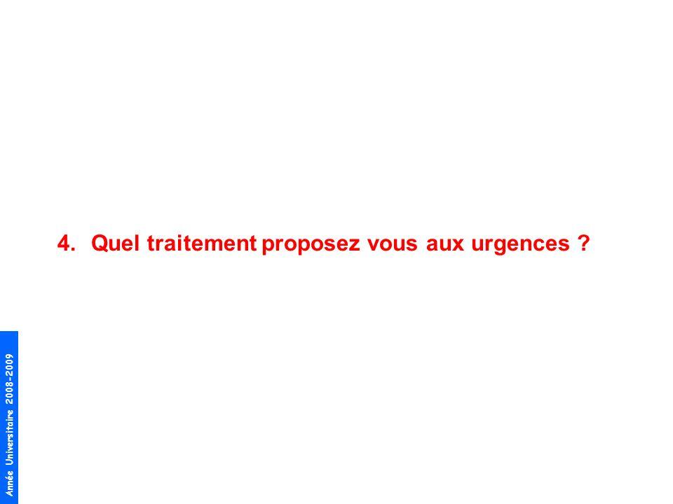 Année Universitaire 2008-2009 4.Quel traitement proposez vous aux urgences ?