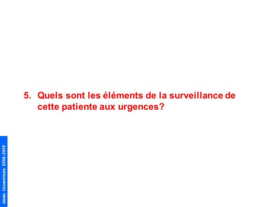 Année Universitaire 2008-2009 5.Quels sont les éléments de la surveillance de cette patiente aux urgences?