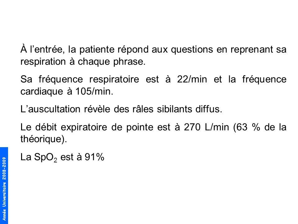 Année Universitaire 2008-2009 1.Oxygène (le but est datteindre une SpO 2 95%) 2.β 2 agonistes inhalés daction rapide (terbutaline ou salbutamol) à dose adéquate, administrés par nébulisations répétées 3.Glucocorticostéroïdes oraux (0,5 à 1 mg/kg déquivalent prednisone / 24h) 4.Anticholinergiques en nébulisations (ne sont à ajouter quen 2ème intention) Méthylxanthine = non recommandé dans le traitement durgence