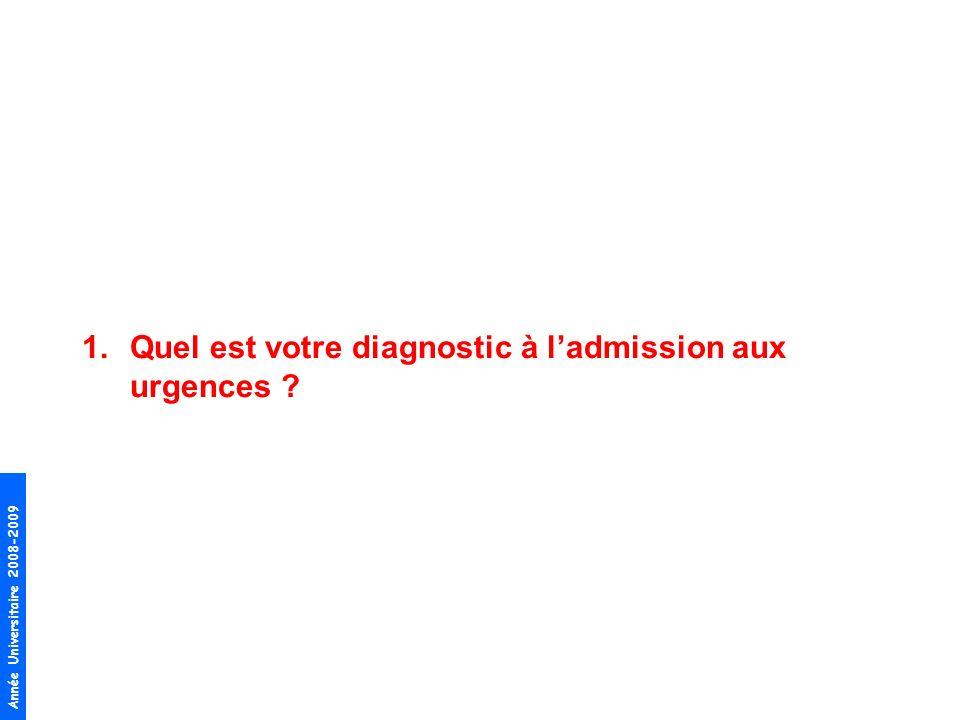 Année Universitaire 2008-2009 1.Quel est votre diagnostic à ladmission aux urgences ?