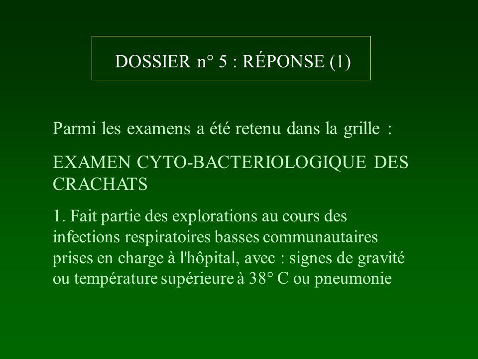 DOSSIER n° 5 : RÉPONSE (1) Parmi les examens a été retenu dans la grille : EXAMEN CYTO-BACTERIOLOGIQUE DES CRACHATS 1. Fait partie des explorations au