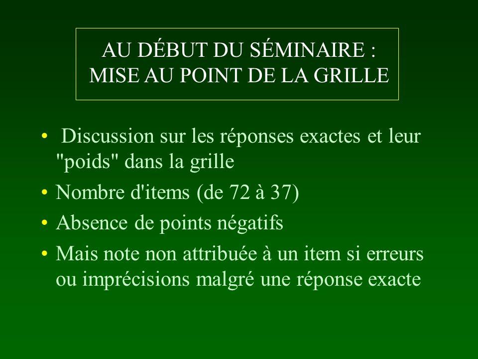 AU DÉBUT DU SÉMINAIRE : MISE AU POINT DE LA GRILLE Discussion sur les réponses exactes et leur