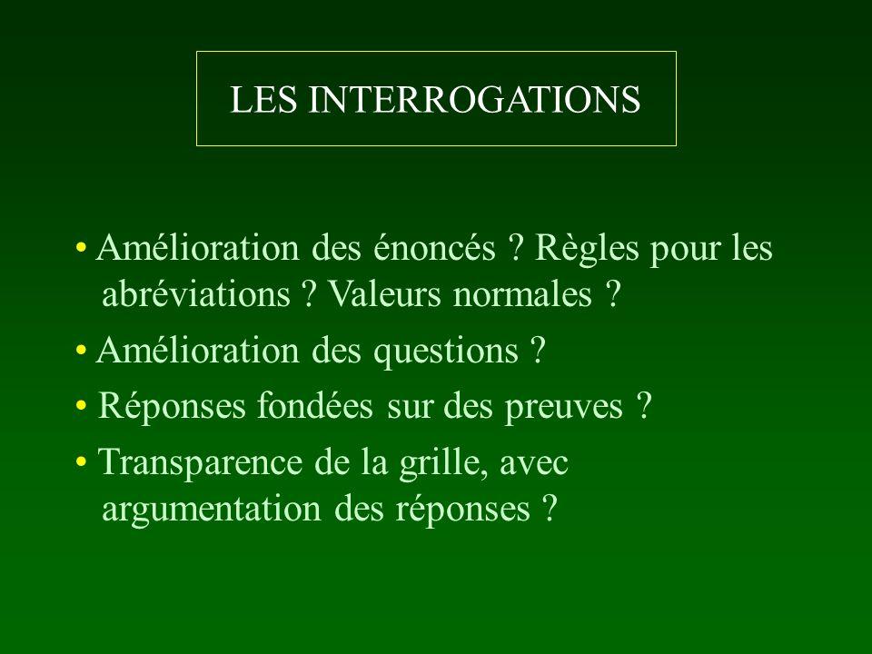 LES INTERROGATIONS Amélioration des énoncés ? Règles pour les abréviations ? Valeurs normales ? Amélioration des questions ? Réponses fondées sur des