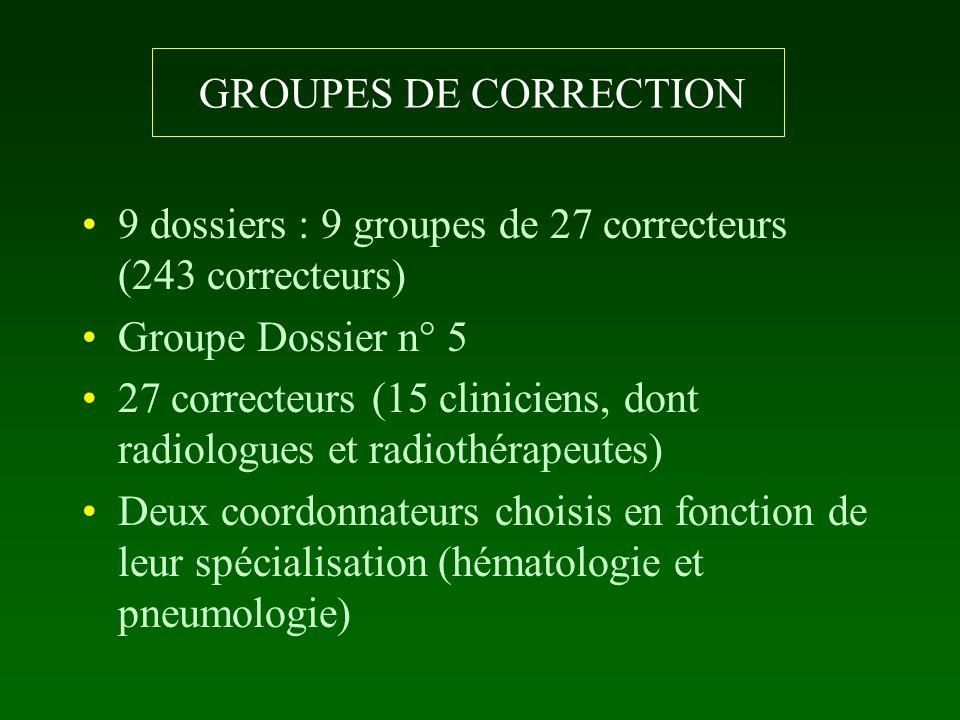 GROUPES DE CORRECTION 9 dossiers : 9 groupes de 27 correcteurs (243 correcteurs) Groupe Dossier n° 5 27 correcteurs (15 cliniciens, dont radiologues e