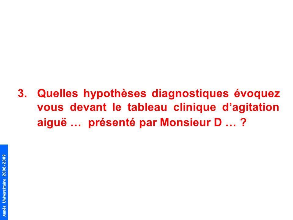 Année Universitaire 2008-2009 3.Quelles hypothèses diagnostiques évoquez vous devant le tableau clinique dagitation aiguë … présenté par Monsieur D …