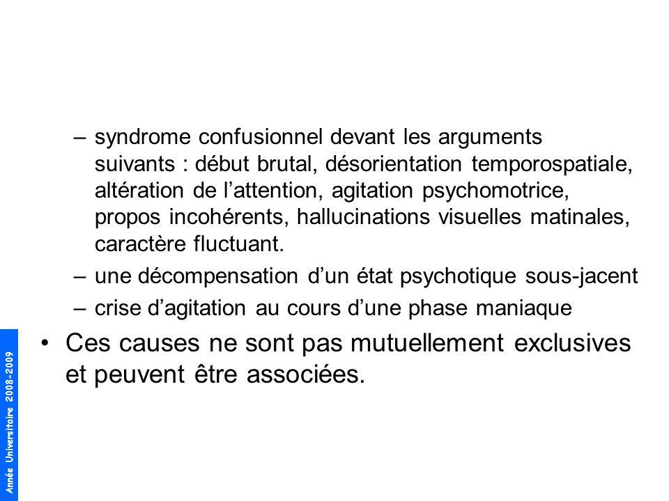 Année Universitaire 2008-2009 –syndrome confusionnel devant les arguments suivants : début brutal, désorientation temporospatiale, altération de latte