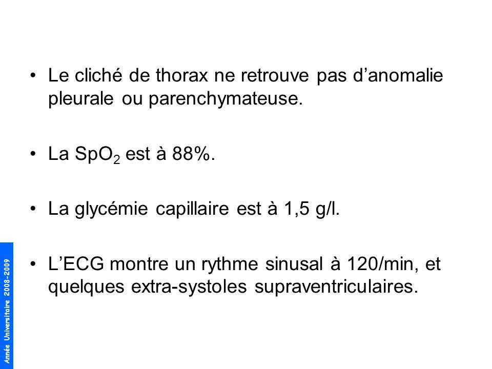 Année Universitaire 2008-2009 Le cliché de thorax ne retrouve pas danomalie pleurale ou parenchymateuse. La SpO 2 est à 88%. La glycémie capillaire es