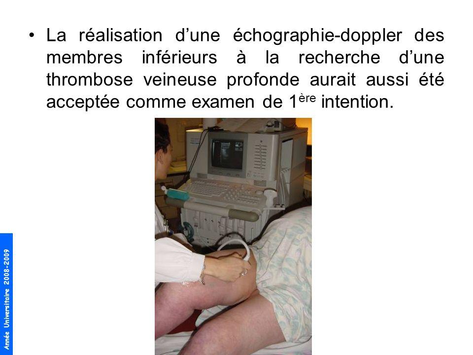 Année Universitaire 2008-2009 La réalisation dune échographie-doppler des membres inférieurs à la recherche dune thrombose veineuse profonde aurait au