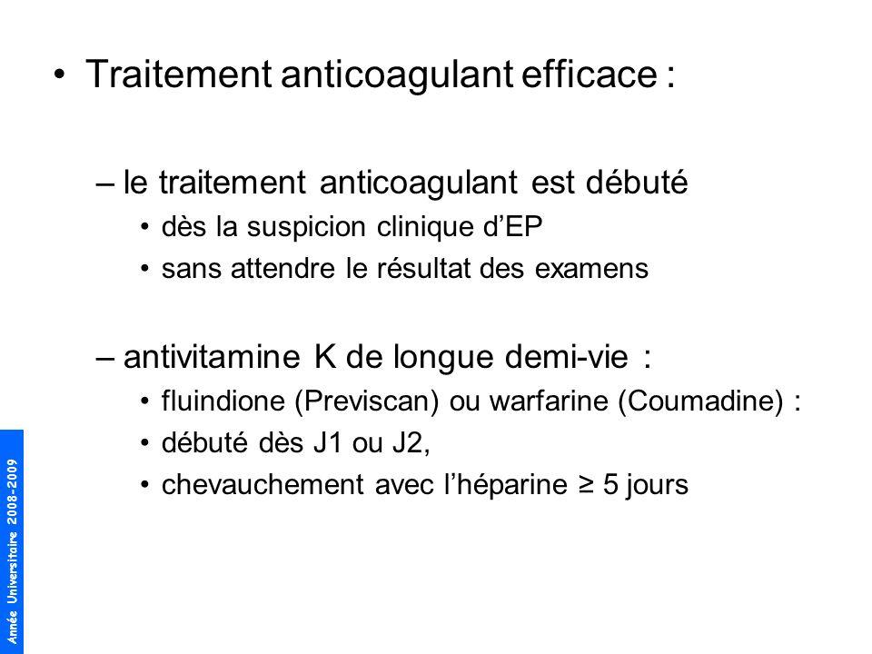 Année Universitaire 2008-2009 Traitement anticoagulant efficace : –le traitement anticoagulant est débuté dès la suspicion clinique dEP sans attendre