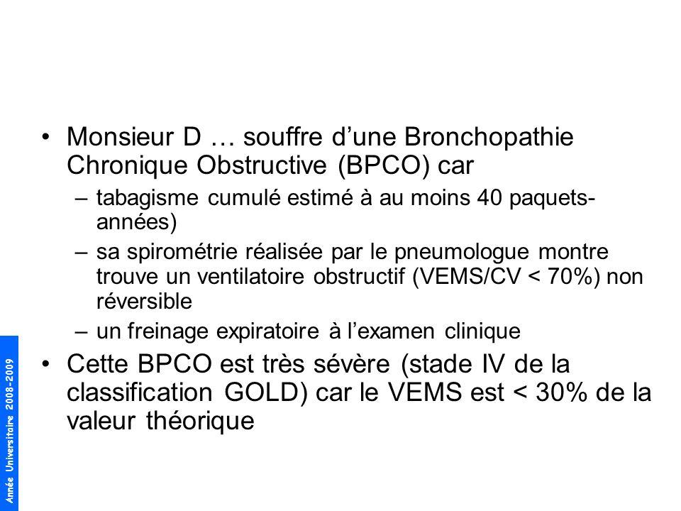 Année Universitaire 2008-2009 Monsieur D … souffre dune Bronchopathie Chronique Obstructive (BPCO) car –tabagisme cumulé estimé à au moins 40 paquets-