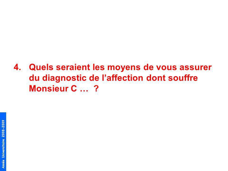 Année Universitaire 2008-2009 4.Quels seraient les moyens de vous assurer du diagnostic de laffection dont souffre Monsieur C … ?