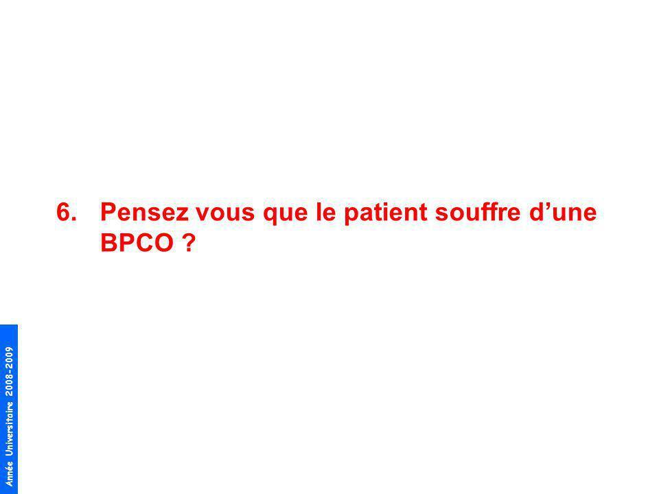 Année Universitaire 2008-2009 6.Pensez vous que le patient souffre dune BPCO ?