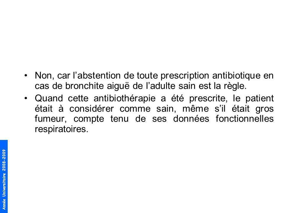 Année Universitaire 2008-2009 Non, car labstention de toute prescription antibiotique en cas de bronchite aiguë de ladulte sain est la règle. Quand ce