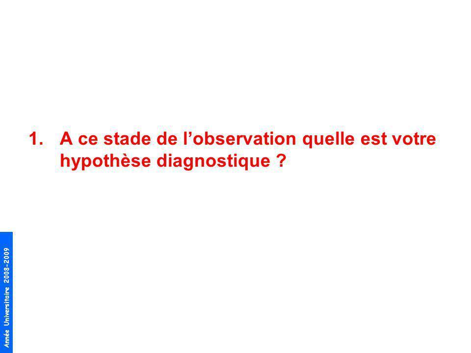 Année Universitaire 2008-2009 1.A ce stade de lobservation quelle est votre hypothèse diagnostique ?