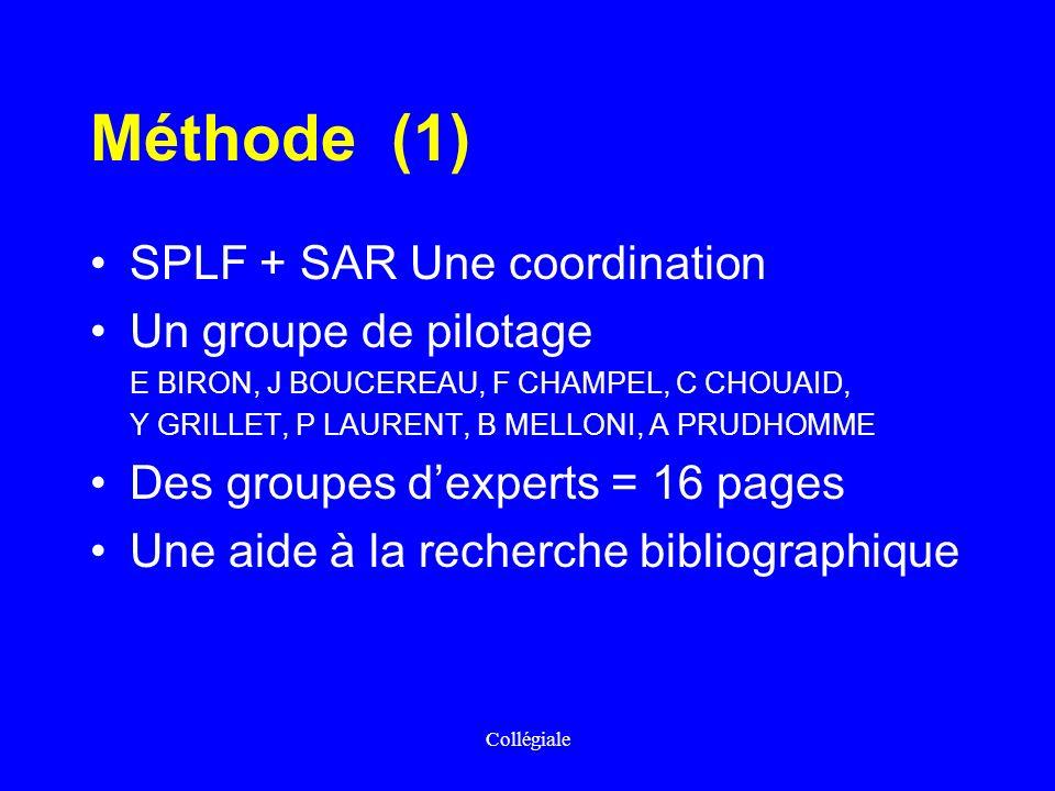 Collégiale Méthode (1) SPLF + SAR Une coordination Un groupe de pilotage E BIRON, J BOUCEREAU, F CHAMPEL, C CHOUAID, Y GRILLET, P LAURENT, B MELLONI,