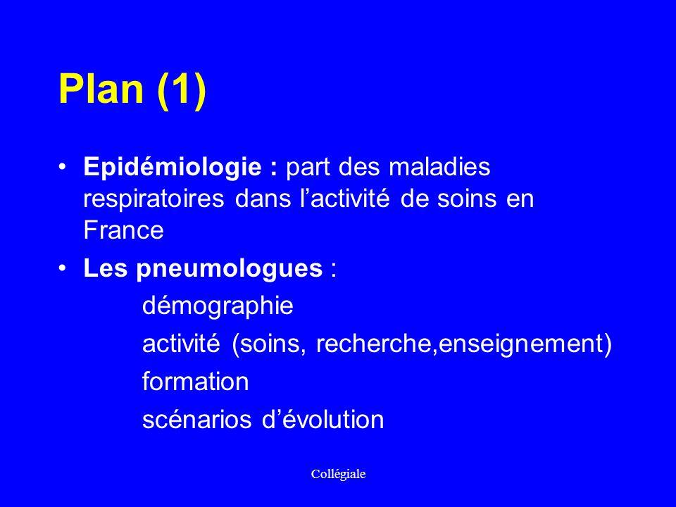Collégiale Plan (1) Epidémiologie : part des maladies respiratoires dans lactivité de soins en France Les pneumologues : démographie activité (soins,