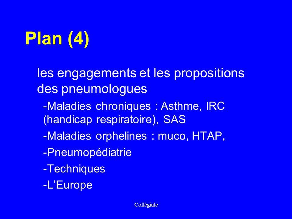 Collégiale Plan (4) les engagements et les propositions des pneumologues -Maladies chroniques : Asthme, IRC (handicap respiratoire), SAS -Maladies orp