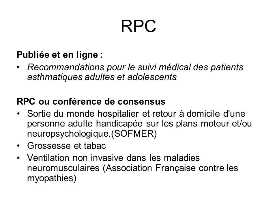 RPC Publiée et en ligne : Recommandations pour le suivi médical des patients asthmatiques adultes et adolescents RPC ou conférence de consensus Sortie