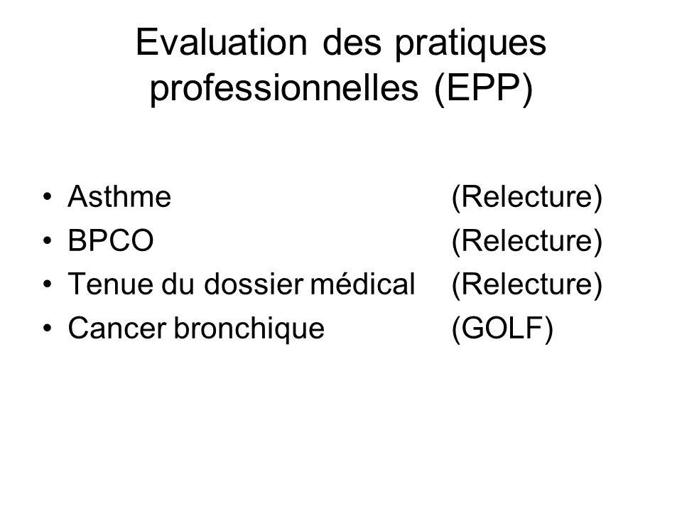 Evaluation des pratiques professionnelles (EPP) Asthme(Relecture) BPCO(Relecture) Tenue du dossier médical(Relecture) Cancer bronchique (GOLF)
