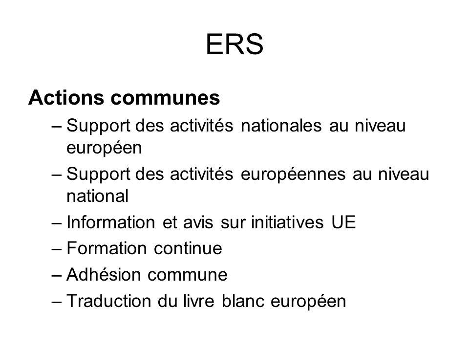 ERS Actions communes –Support des activités nationales au niveau européen –Support des activités européennes au niveau national –Information et avis sur initiatives UE –Formation continue –Adhésion commune –Traduction du livre blanc européen