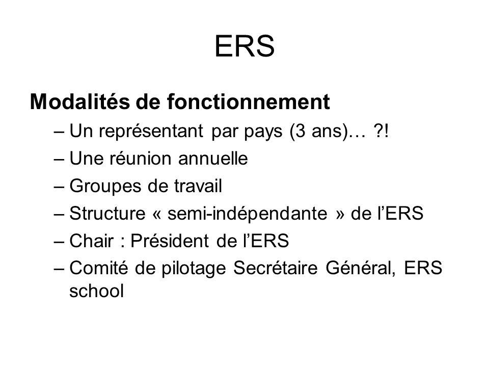 ERS Modalités de fonctionnement –Un représentant par pays (3 ans)… ?! –Une réunion annuelle –Groupes de travail –Structure « semi-indépendante » de lE