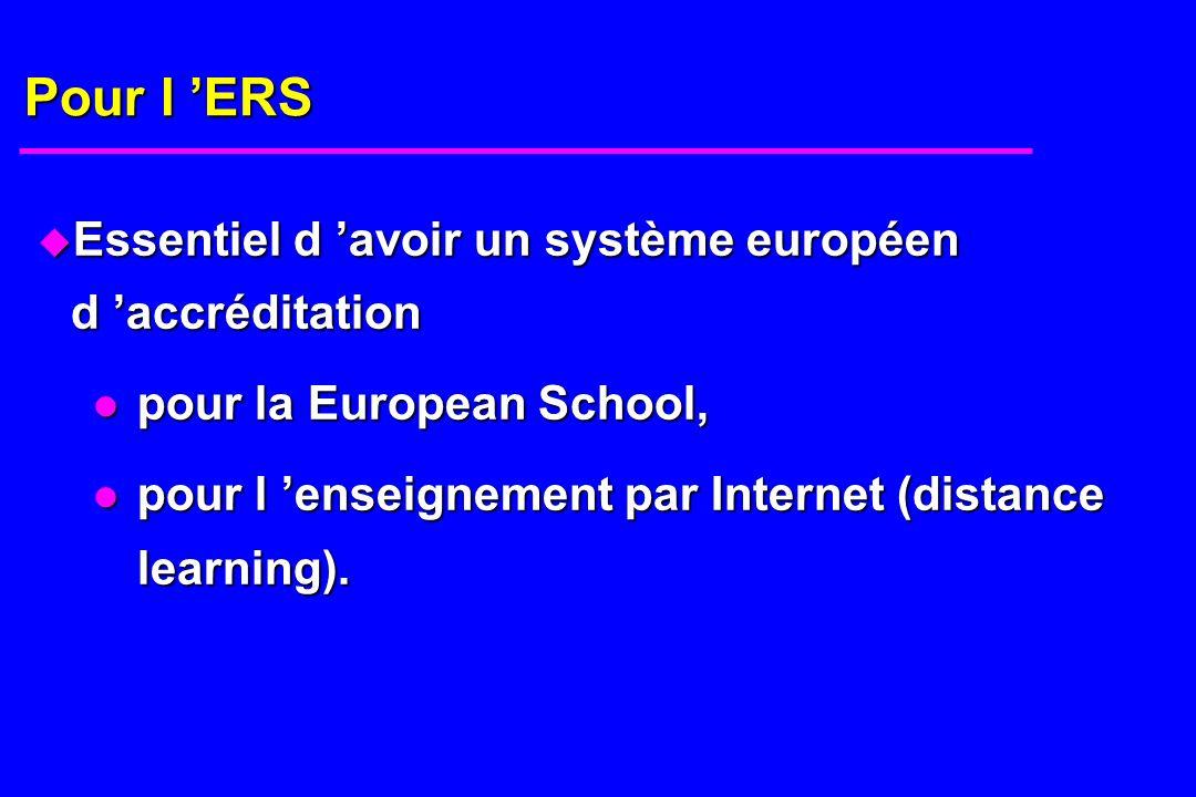 Pour l ERS u Essentiel d avoir un système européen d accréditation pour la European School, pour la European School, pour l enseignement par Internet (distance learning).