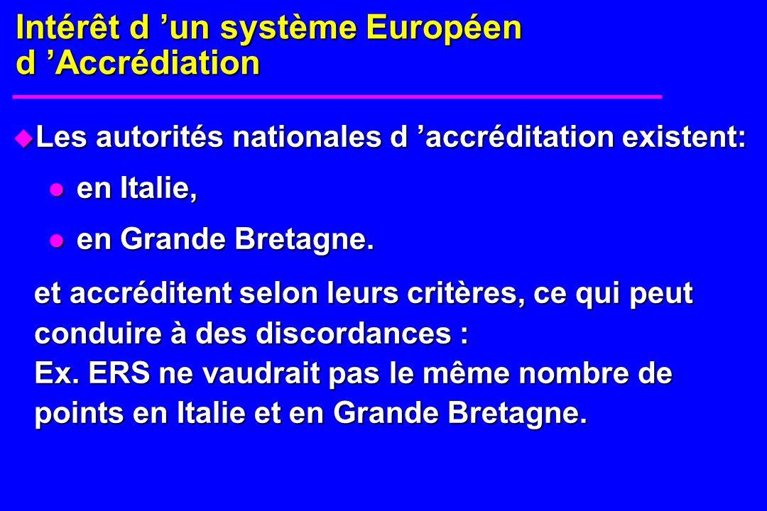 u Les autorités nationales d accréditation existent: en Italie, en Italie, en Grande Bretagne. en Grande Bretagne. et accréditent selon leurs critères