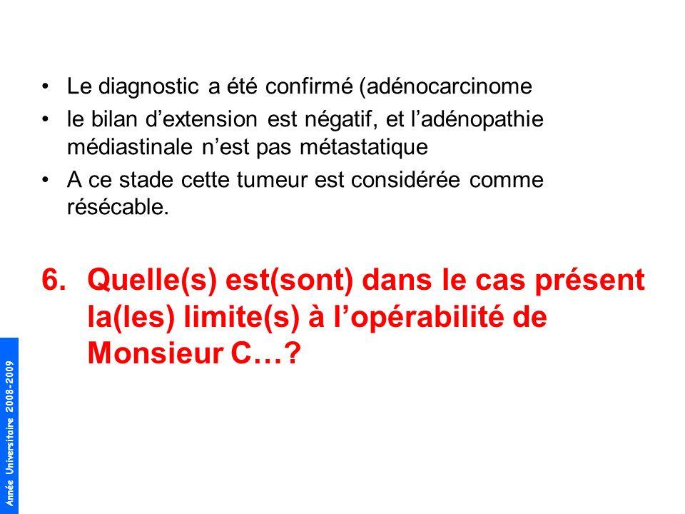 Année Universitaire 2008-2009 Le diagnostic a été confirmé (adénocarcinome le bilan dextension est négatif, et ladénopathie médiastinale nest pas méta